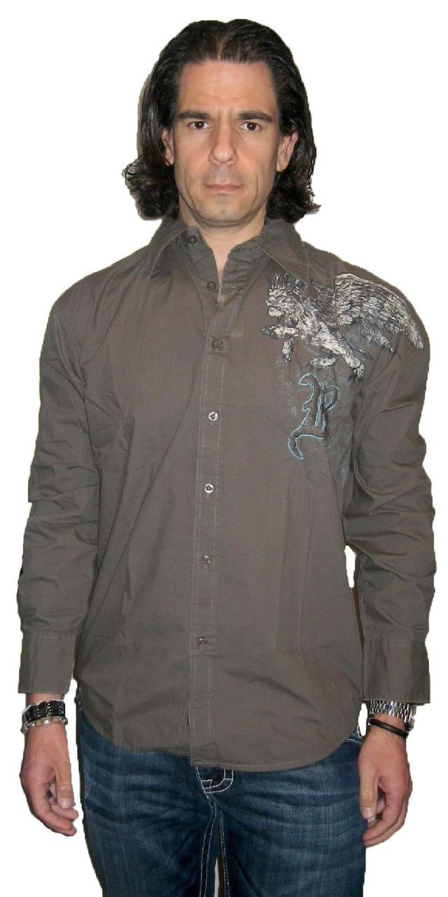 Roar Clothing Shirt Mens Honor Griffin Military Green Button Up