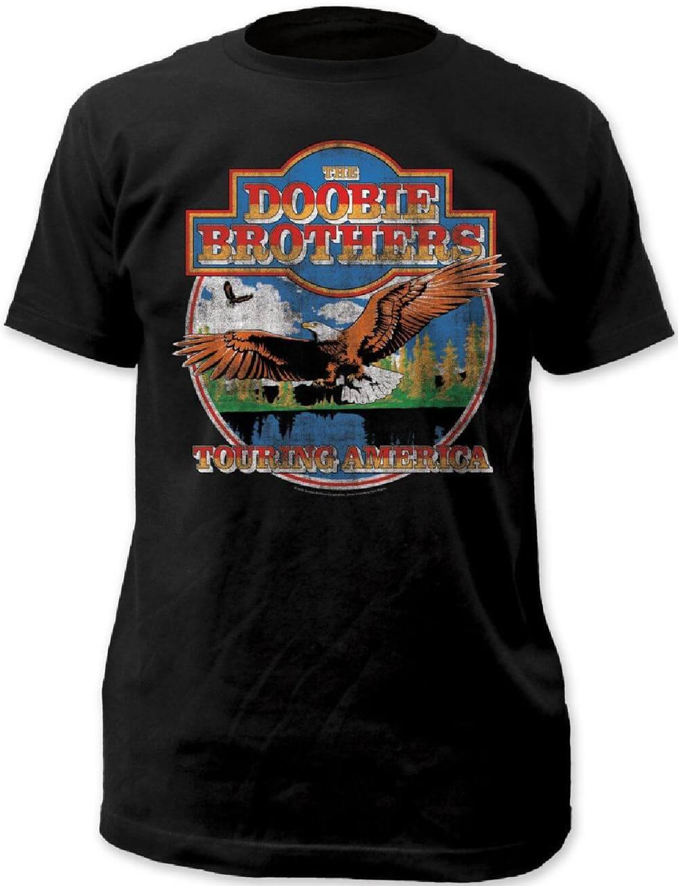 0128573384d The Doobie Brothers Touring America Men's Black Vintage Concert T-shirt