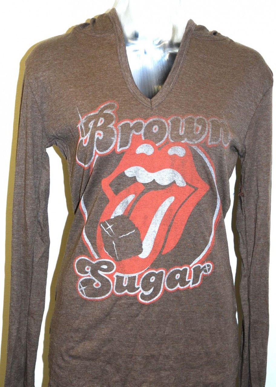 Rolling Stones Hoodie Sweatshirt - Brown Sugar Song Title Women's Brown  Hooded Sweatshirt  By Junk Food Clothing