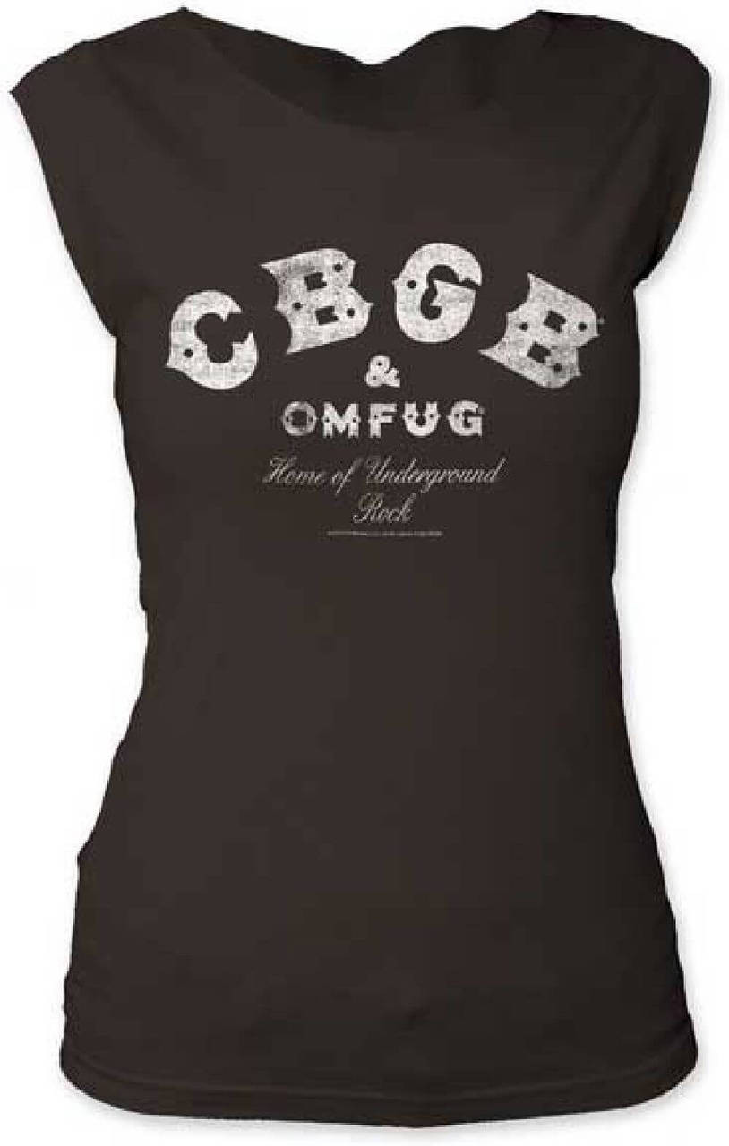 98f491ed3 CBGB   Omfug Home of Underground Rock Logo Women s Black Vintage Sleeveless  T-shirt