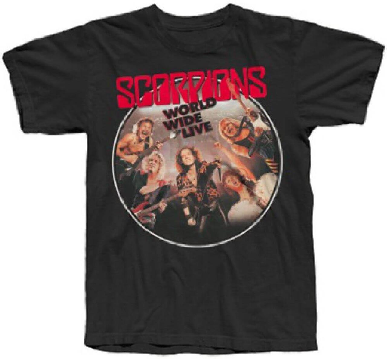 bb25185f Scorpions World Wide Live Album Cover Artwork Men's Black T-shirt