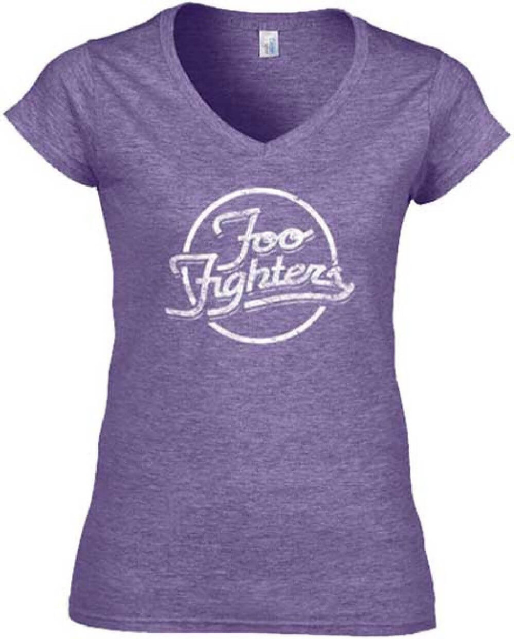 2e18846c Foo Fighters Logo Women's Purple Vintage V-Neck T-shirt | Rocker Rags