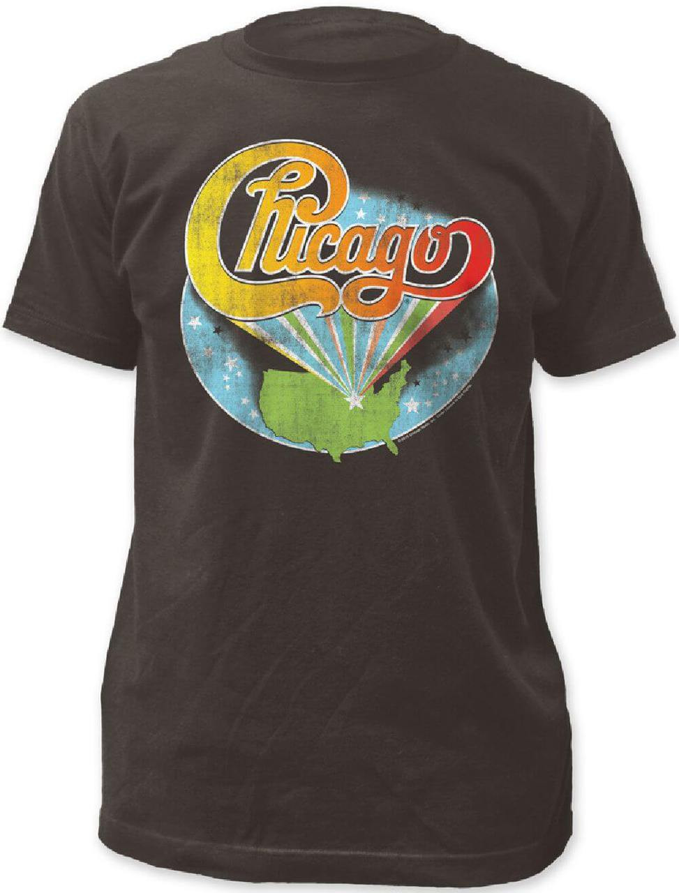 9d46110cae768d Chicago Rock Band Logo with United States Background Men's Black Vintage T- shirt