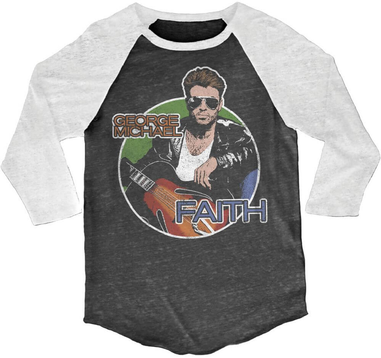 9944f181 George Michael Faith Drawing Black and White Vintage Raglan Baseball Jersey  T-shirt