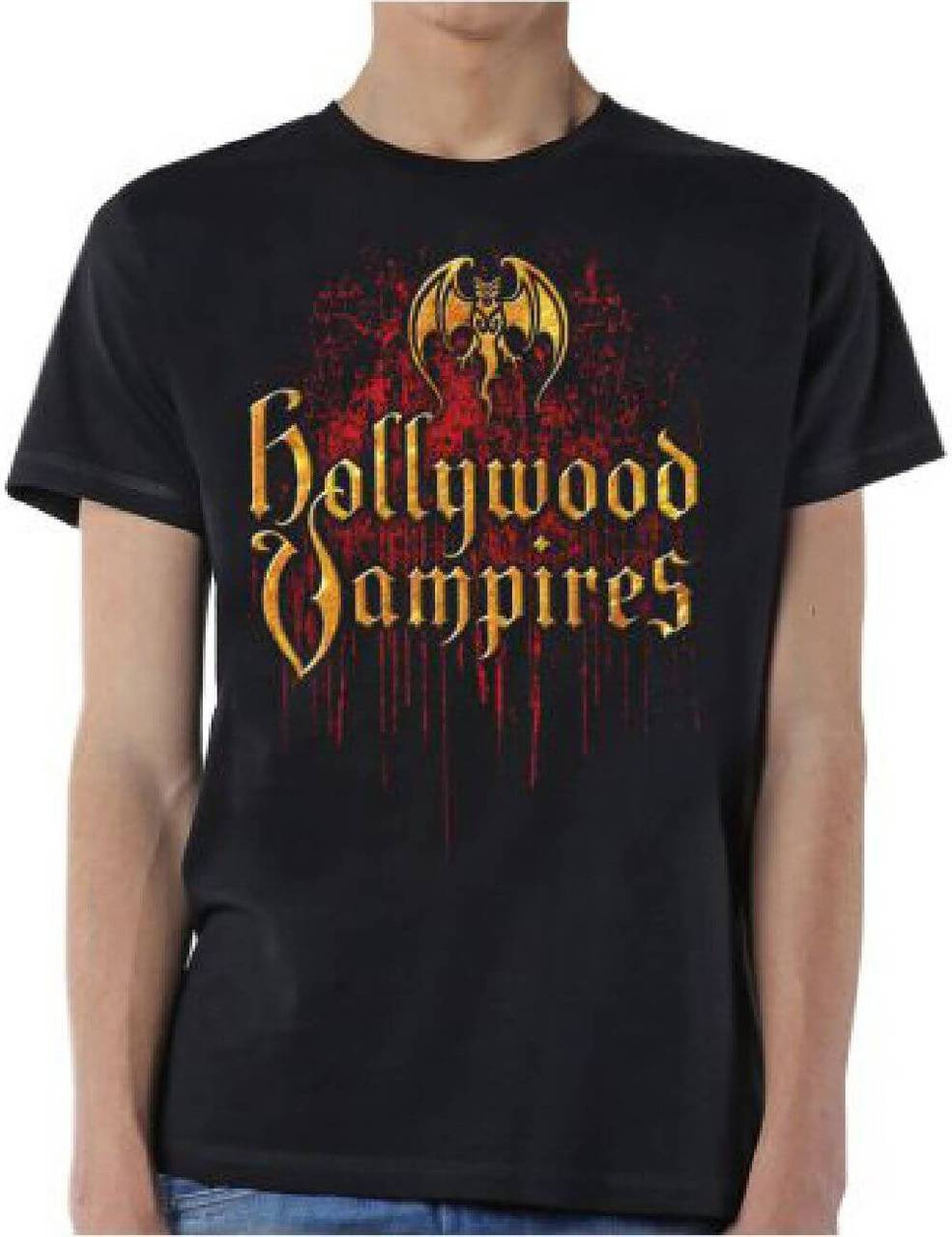 334b480cd2a524 Hollywood Vampires Supergroup Logo and Debut Album Cover Artwork Men's  Black T-shirt