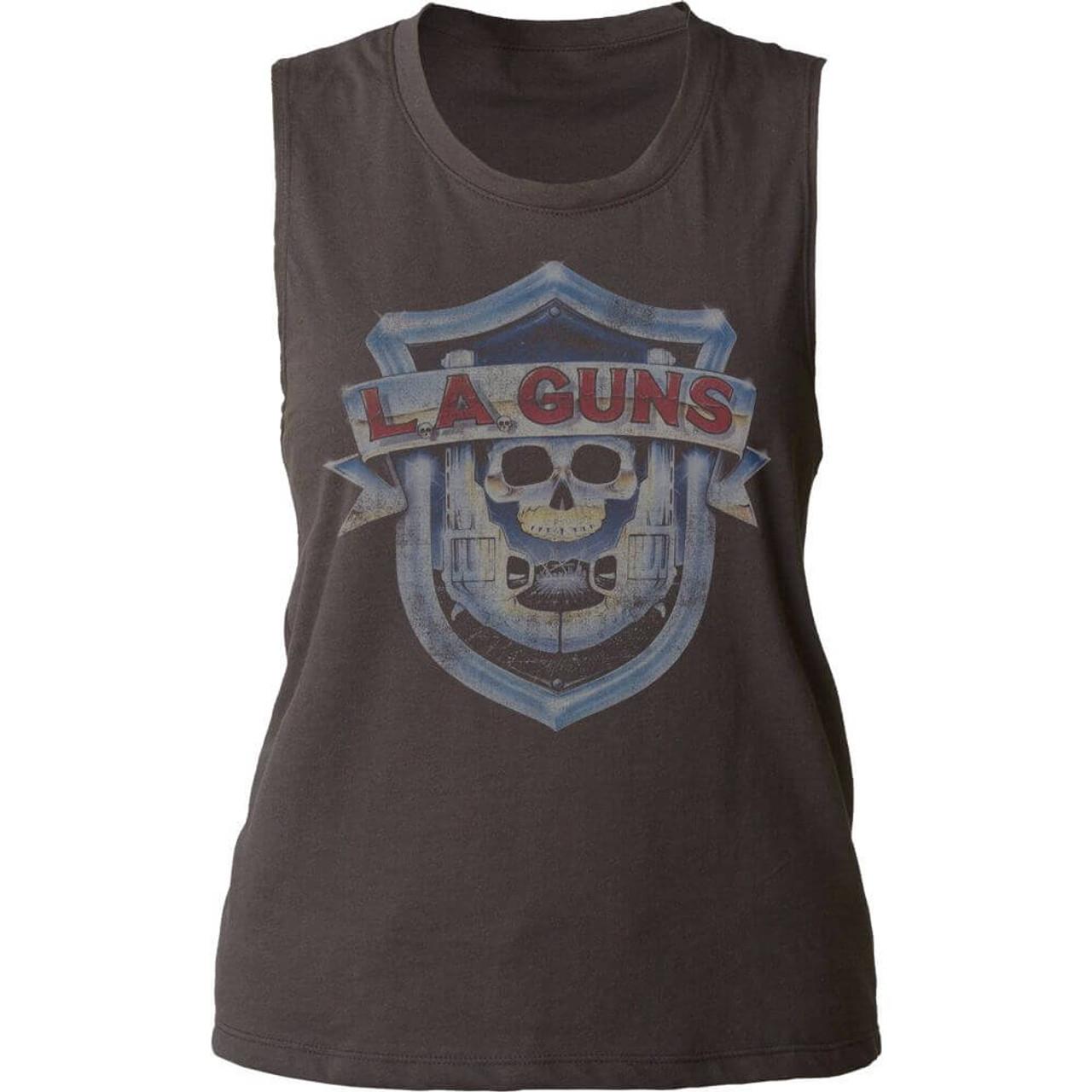 e78d95885d4a8e LA Guns Logo and Debut Album Cover Artwork Women s Black Vintage Sleeveless  T-shirt