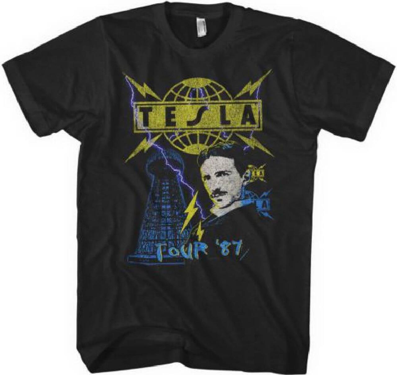 162cebc84620 Tesla Tour 1987 Men s Black Vintage Concert T-shirt
