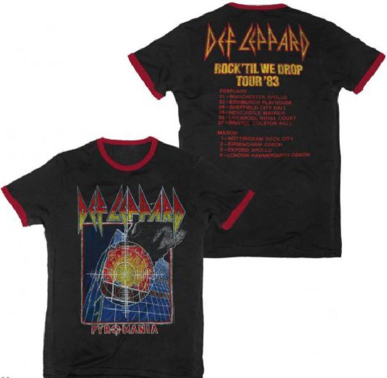9fc6ea4338704 Def Leppard Pyromania Rock Til We Drop Tour 1983 Men s Black and Red Ringer  Vintage Concert
