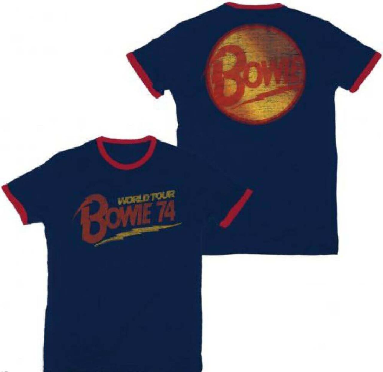 eae0c556f5 David Bowie World Tour 1974 Men S Blue Vintage Concert T Shirt