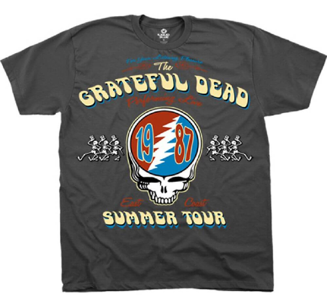 47126bb15c18 Grateful Dead Summer Tour 1987 Performing Live East Coast with Vector  Lightning Skull Logo Men s Gray