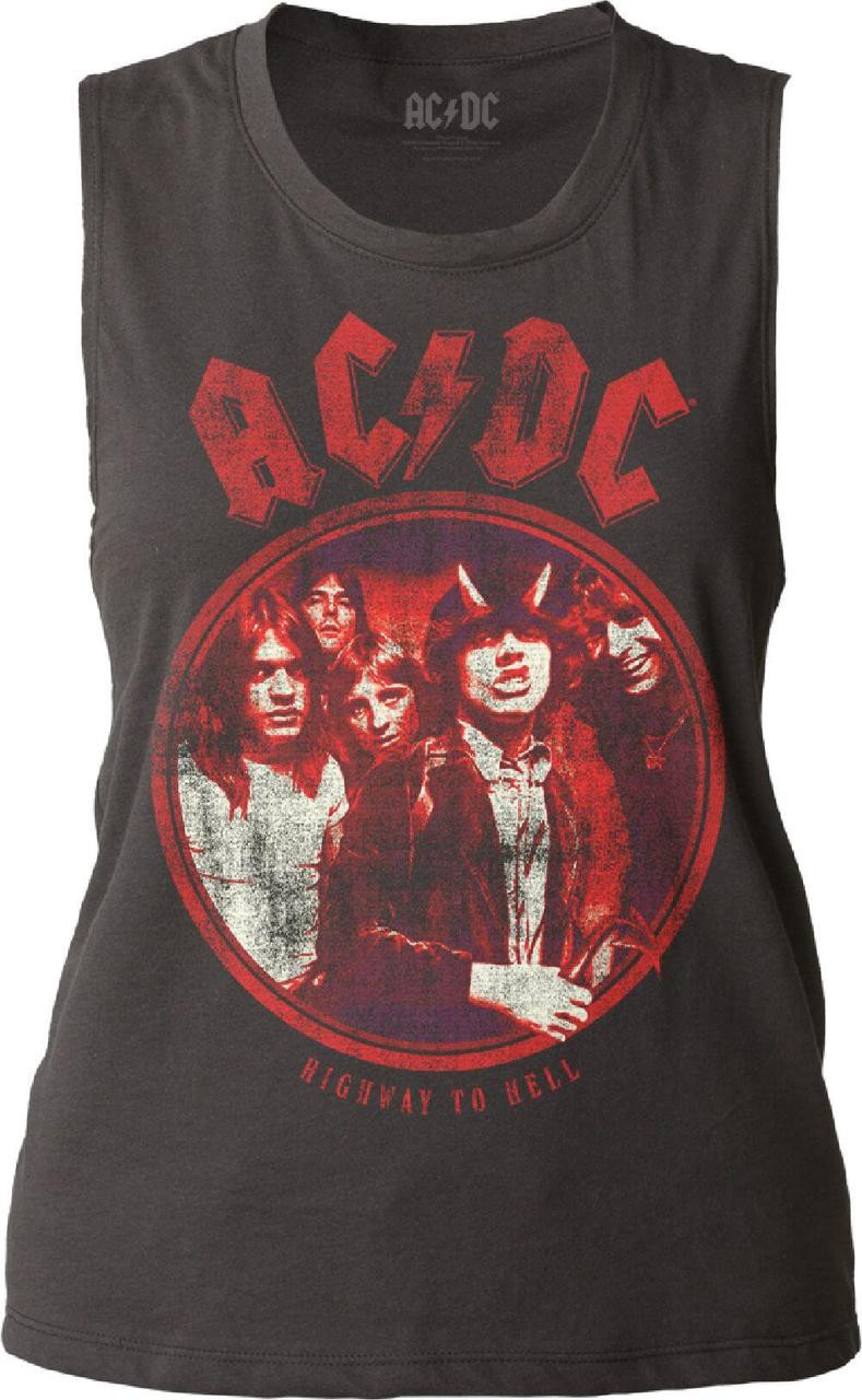 36213fd13dc0b6 AC DC Highway to Hell Album Cover Artwork Women s Black Vintage Sleeveless T -shirt