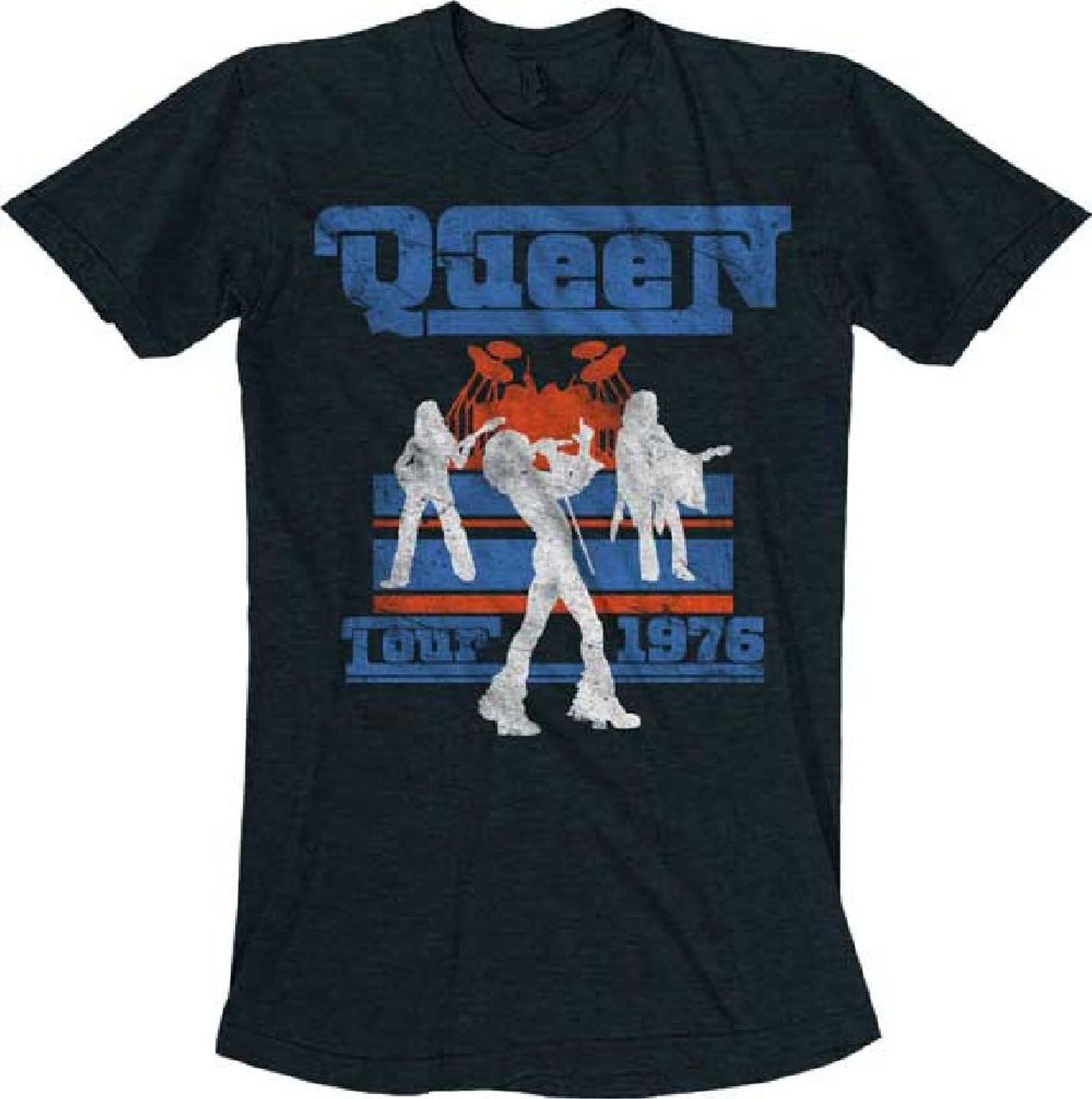 5d6e3287e2c16f Queen Tour 1976 Men's Black Vintage Concert T-shirt