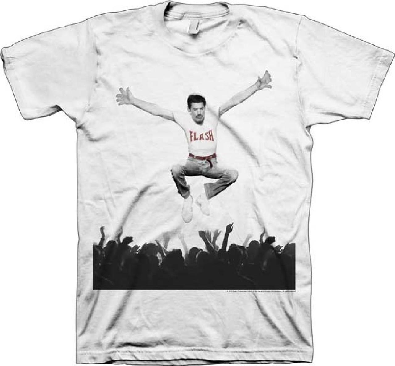 bffa18ef Freddie Mercury Jumping Above Concert Crowd Men's White T-shirt