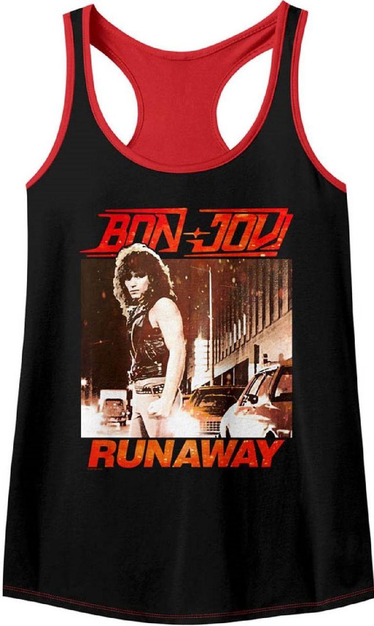 4080fbbd3581e2 Bon Jovi Runaway Song Single Album Cover Artwork Women s Black and Red Tank  Top T-