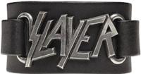 Slayer Logo Leather Wriststrap Bracelet Cuff - close up