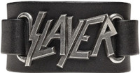 Slayer Logo Leather Wriststrap Bracelet Cuff - close up