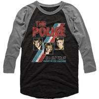 The Police Ghost in the Machine Tour 1981-1982 Men's Unisex Black and Gray Vintage Fashion Raglan Baseball Jersey Concert T-shirt