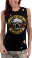 Guns N Roses Logo Women's Vintage Fashion Black Distressed Sleeveless T-shirt