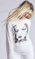 Blondie Debbie Harry Image Women's White Vintage Fleece Fashion Shirt by Recycled Karma - side