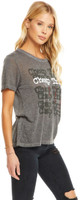 Cheap Trick Stacked Band Logo with Standing On the Edge Album Title Women's Gray Vintage Fashion T-shirt by Chaser - side