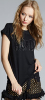 AC/DC Crystal Studded Logo Women's Black Distressed Fashion T-shirt by Recycled Karma Black Label - side