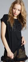 AC/DC Crystal Studded Logo Women's Black Distressed Fashion T-shirt by Recycled Karma Black Label - side