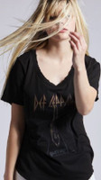 Def Leppard High n Dry Album Cover Artwork Women's Black Distressed Vintage Fashion T-shirt by Recycled Karma