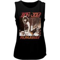 Bon Jovi Runaway Song Single Album Cover Artwork Women's Black Vintage Sleeveless Muscle Fashion T-shirt - close up
