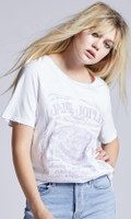 Janis Joplin Houston Coliseum Concert Promotional Poster Artwork Women's White Vintage Fashion T-shirt by Recycled Karma - side