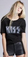 Kiss Love Gun Tour 1977 Women's Black Vintage Fashion Concert T-shirt by Recycled Karma - front