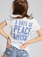 Woodstock Peace Dove Logo 3 Days of Peace & Music Slogan Women's White Vintage Fashion T-shirt by Recycled Karma - back