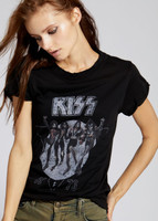 KISS Destroyer Album Cover Artwork with 1976 Release Year Women's Black Vintage Fashion T-shirt by Recycled Karma