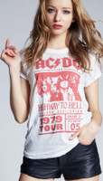 AC/DC Highway to Hell Tour 1979 Oakland, California Concert Promotional Poster Artwork Women's White Vintage Fashion T-shirt by Recycled Karma