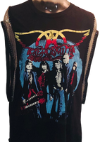 Aerosmith Rocks Tour Women's Vintage Black Sleeveless Metal Chain Tank Top Fashion Concert T-shirt by Trendy and Tipsy - front