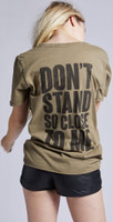 The Police Zenyatta Mendatta Logo Don't Stand So Close to Me Song Title Women's Olive Green Vintage Fashion T-shirt by Recycled Karma - back