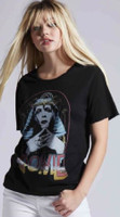 David Bowie Egyptian Sphinx Costume Photograph Women's Black Vintage Fashion T-shirt by Recycled Karma - left side