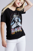 David Bowie Egyptian Sphinx Costume Photograph Women's Black Vintage Fashion T-shirt by Recycled Karma - right side