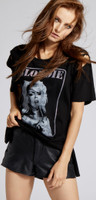 Blondie Debbie Harry Performing Singing Photograph Women's Black Slashed Sleeve Vintage Fashion T-shirt by Recycled Karma - side