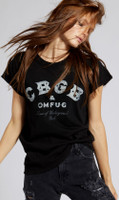 CBGB & OMFUG Home of Underground Rock Logo Women's Black Vintage Distressed Fashion T-shirt by Recycled Karma - 2