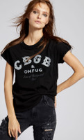 CBGB & OMFUG Home of Underground Rock Logo Women's Black Vintage Distressed Fashion T-shirt by Recycled Karma- front