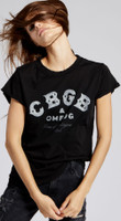 CBGB & OMFUG Home of Underground Rock Logo Women's Black Vintage Distressed Fashion T-shirt by Recycled Karma- 3