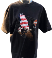 Harley Davidson Motorcycle Bald Eagle Logo with Free the Spirit Slogan and Valparaiso, Indiana Harley Davidson Dealership Name Black Vintage Unisex Re-Purposed Fashion T-shirt by Trendy and Tipsy - front