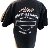 Harley Davidson Motorcycle Logo and Alef's Harley Davidson Dealership Name Black Vintage Unisex Re-Purposed Fashion T-shirt by Trendy and Tipsy - back