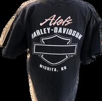 Harley Davidson Motorcycle Logo and Alef's Harley Davidson Dealership Name Black Vintage Unisex Re-Purposed Fashion T-shirt by Trendy and Tipsy - back
