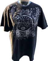 Harley Davidson Motorcycle Logo and Alef's Harley Davidson Dealership Name Black Vintage Unisex Re-Purposed Fashion T-shirt by Trendy and Tipsy - front