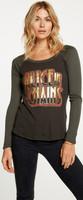 Alice in Chains Logo Women's Vintage Fashion Safari Green and Black Long Sleeve Raglan Baseball Jersey T-shirt by Chaser - 1