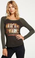 Alice in Chains Logo Women's Vintage Fashion Safari Green and Black Long Sleeve Raglan Baseball Jersey T-shirt by Chaser - 2
