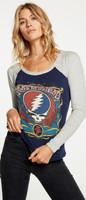 Grateful Dead Lightning Bolt Dancing Teddy Bears Flowers Logos Women's Blue and Gray Vintage Fashion Baseball Jersey Raglan T-shirt by Chaser - front