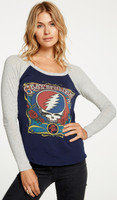 Grateful Dead Vintage Fashion T-shirt by Chaser - Logos | Women's Blue and Gray Raglan Baseball Jersey Shirt
