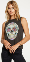 Floral Skull Women's Black Sleeveless Muscle Fashion T-shirt by Chaser - 1